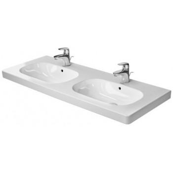 D-Code Lavabo doppio, lavabo consolle doppio, con troppopieno, con bordo per rubinetteria, lato inferiore smaltato, 1200 mm, Dimensione 1200 mm DUR03481200302