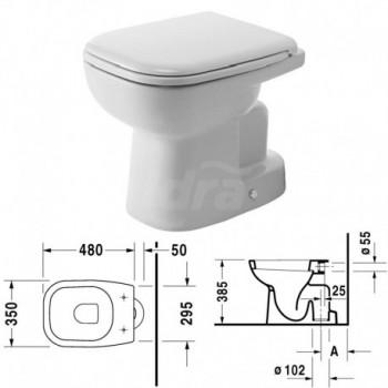 D-Code Vaso a pavimento, per cassetta a incasso o esterna, a cacciata, fissaggi inclusi, scarico verticale, EWL classe 2, Dimensione 350 x 530 mm DUR2110010000