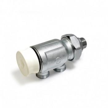 R324N Valvola manuale con preregolazione micrometrica, in ottone, cromata, con attacco per adattatore tubo rame, plastica o m...