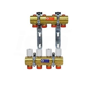 R553D Collettore premontato per impianti di climatizzazione, in ottone. Con attacchi per adattatori tubo rame, plastica o multistrato GIMR553Y006