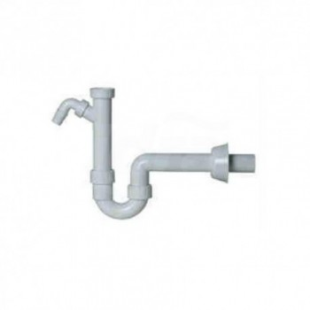 """Sifone d.40 1""""1/2 in PP bianco per lavello, con tubo di prolunga e portagomma per scarico elettrodomestici. Completo di rosone COEF03SF1525"""