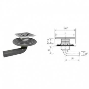 Piletta in PP per terrazzo o balcone. Completa di flangia di impermeabilizzazione e contro flangia filettata. Dimensione griglia 100 COEF03SF1673