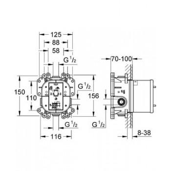 35501 Corpo incasso universale per miscelatori monocomando GRO35501000