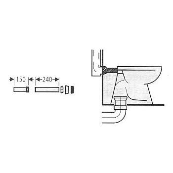 37103 Cannotto per vaso scarico pavimento e parete bianco GRO37103SH0