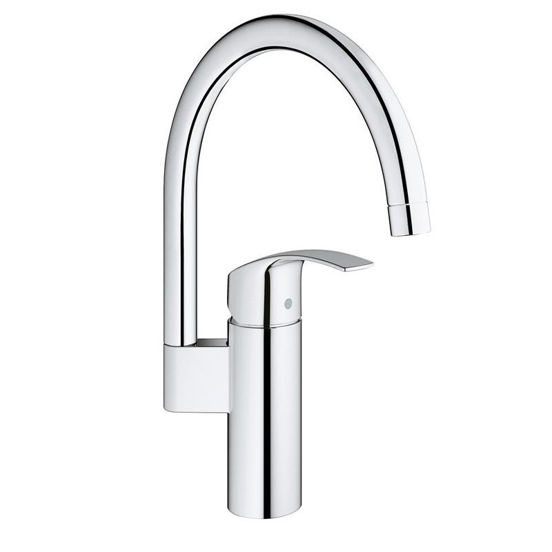 Eurosmart New Miscelatore rubinetto Monocomando Lavello, bocca alta, raggio di rotazione 0°/150°/360°, GROHE StarLight finitu...