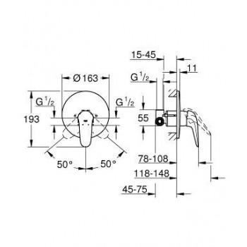 EUROSTYLE NEW 23725 Miscelatore monocomando per doccia GRO23725003
