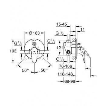 EUROSTYLE NEW 23730 Miscelatore rubinetto monocomando per vasca-doccia 23730003 - Gruppi per docce