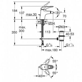 EUROSTYLE NEW 33565 Miscelatore monocomando per bidet Taglia S GRO33565003