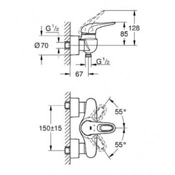 Grohe Eurostyle New Miscelatore rubinetto monocomando per doccia finitura cromo 33590003 - Gruppi per docce