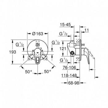 EUROSTYLE NEW 33637 Miscelatore rubinetto monocomando per vasca-doccia 33637003 - Gruppi per docce