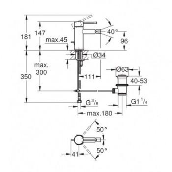 Essence Miscelatore monocomando per bidet Taglia S finitura cromo 32935001 - Per bidet