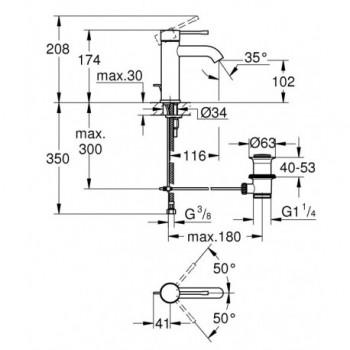 ESSENCE NEW 23589 Miscelatore monocomando per lavabo GROHE Essence con scarico a saltarello GRO23589001