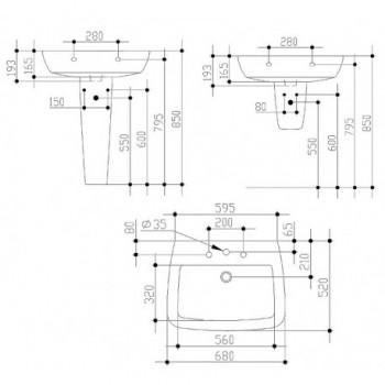 21 lavabo con foro centrale 68x52 bianco europa IDST015401
