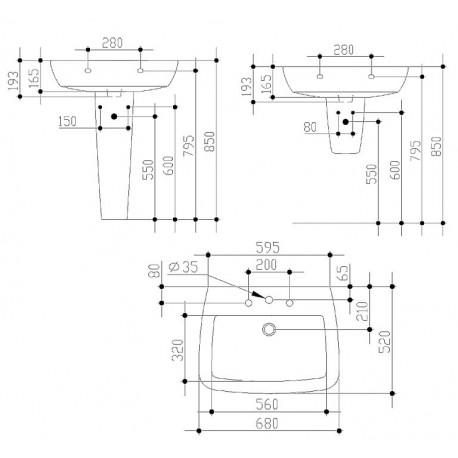 Lavabo Europa.21 Lavabo Con Foro Centrale 68x52 Bianco Europa Idst015401