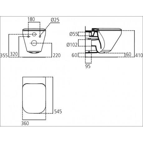 TONIC II wc sospeso C/ Aquablade + sedile slim bianco europa K316601 - Vasi WC