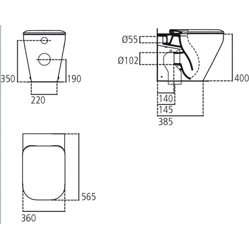 TONIC II wc BTW universale +Aquablade + sedile slim bianco europa K317201 - Vasi WC