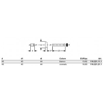 Cannotto PVC ø45x40x44 cromato per Unica 118.221.21.1