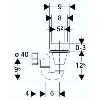 150.071 Sifone PP per piatto doccia ø40mm CR GEB150.071.21.1