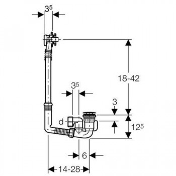 150.603 Sifone PP con colonna per vasca ø40mm CR GEB150.603.21.2