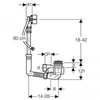 150.704 Sifone PP con colonna per vasca ø40mm 150.704.00.2 - Sifoni in plastica