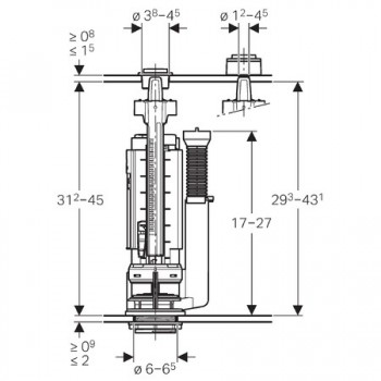 Batteria di scarico universale TIPO290 con rubinetto GEB283.354.21.2