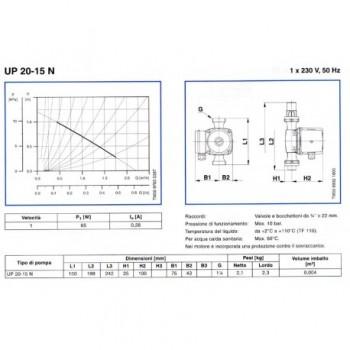 "Up 20-15N circolatori Ø1.1/4"" Int.150 1X230V 59641500 - Circolatori"