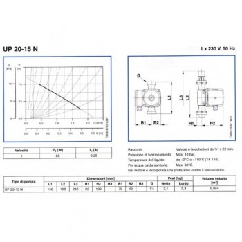 "Up 20-30N circolatori Ø1.1/4"" Int.150 1X230V 59643500 - Circolatori"