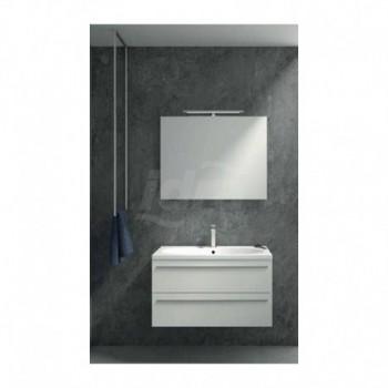 Mobile bagno con 2 cassetti, specchio e lampada, dimensione L. 900X P.460 X H. 500 Finitura talco grigio MONOBLOCCOVALETGL90
