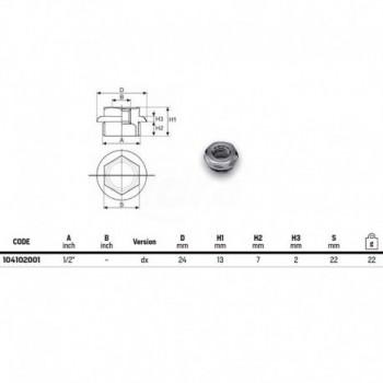 """Tappo in ottone cromato serie 1/2"""" con flangia ø 28 filetto con tenuta o-ring 104102001 - Tappi/Riduzioni per radiatori"""