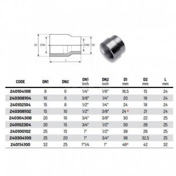 """Manicotto ridotto FF zincato ø1/2""""Fx3/8""""F 240308102 - In acciaio zincato filettati"""