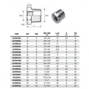 """Riduzione esagonale MF zincato ø3/4""""Mx1/2"""" F 241304124 - In acciaio zincato filettati"""