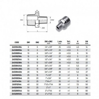 Nippli riduzione  1/2 X 1/4 vite doppia ridotta zincata RAC245102144