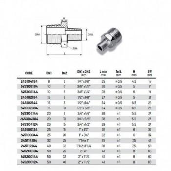 Nippli riduzione 3/8 X 1/4 vite doppia ridotta zincata 245308144 - In acciaio zincato filettati