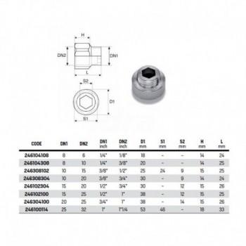 """Manicotto ridotto MF (prolunga ridotta) mm 15 zincata ø1/4""""Mx3/8"""" F RAC246104308"""