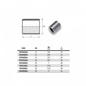 """Nipplo M. semplice zincato ø1"""" 531100004 - In acciaio zincato filettati"""