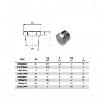 """Tappo maschio testa esagonale zincato ø1/4"""" 292104001 - In acciaio zincato filettati"""