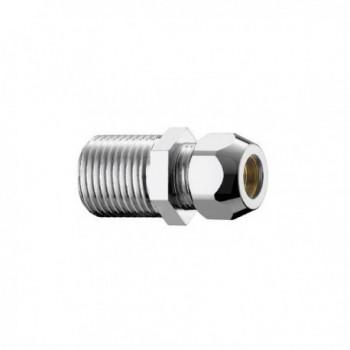 """320/4c nipple ottone cromato m/m ø1/2""""x20 con dado ø10 0320B430CR"""