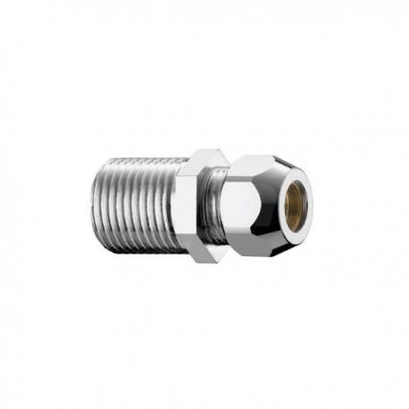 """320/4c nipple ottone cromato m/m ø1/2""""x20 con dado ø10 0320B430CR - In ottone filettati"""