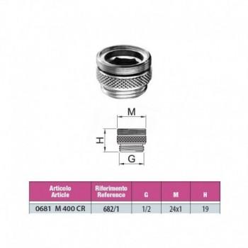 Riduzione completa maschio GAS / maschio M 24x1 in ottone cromato 0681M400CR