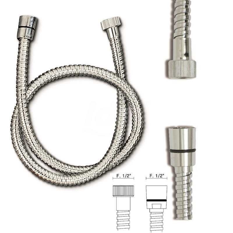 """Flessibile doccia ottone cromato OM. AT.CONICO FF 1/ /2x1/2x150 TIPO PES.DOPPIA GRAFFAT. 758301OC1/2""""150 - Accessori"""