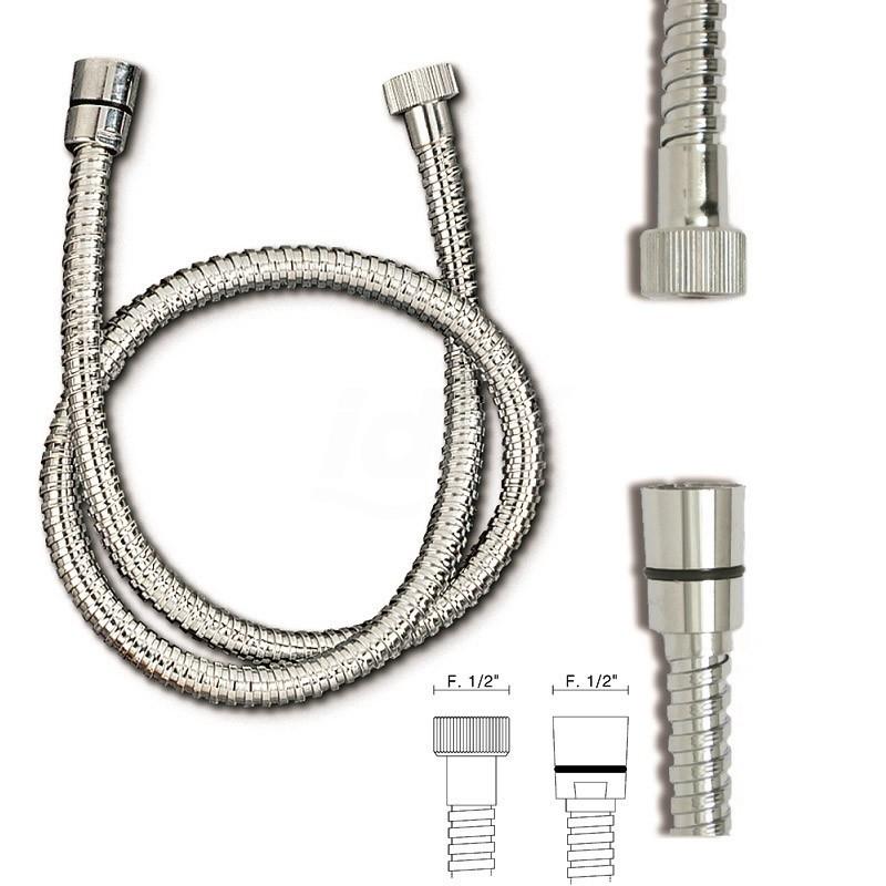 """Flessibile doccia ottone cromato OM. AT.CONICO FF 1/ /2x1/2x200 TIPO PES.DOPPIA GRAFFAT. TIR758301OC1/2""""200"""