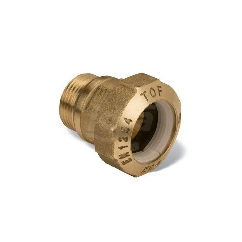 """Tof/m raccordo diritto m. ottone ø40x1.1/4""""m x pe 01010007P - Meccanici per tubi PED/PEHD"""