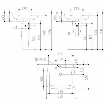 21 lavabo con foro CENTR. 60x52 bianco europa IDST015301