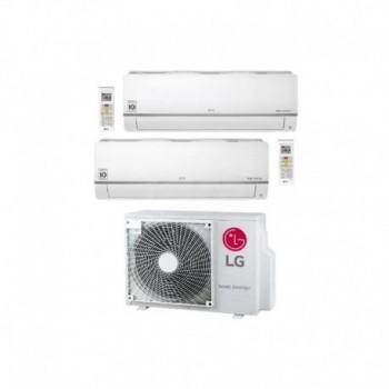 Clima Dual split a parete serie Libero Plus Wi-Fi 9000+12000 Btu, gas R32, tecnologia inverter unità esterna Multi Split, pompa di calore, classe energetica Raffrescamento A+++ / Riscaldamento A+ LGEPC09SQ.NSJ+PC12SQ.NSJ+MU2R17.UL0