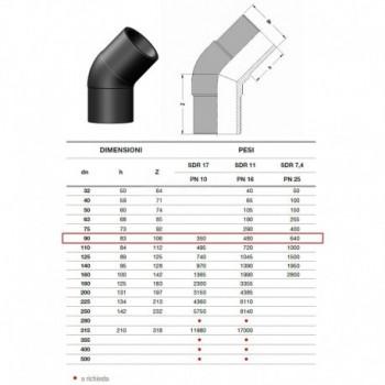 20.15 GOMITO 45° IN PE100 SDR11 ø90mm PN16 2015160090 - A saldare per tubi PED/PEHD