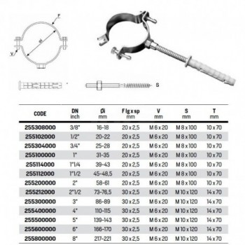 """Collare fissaggio tubo con dado puntato ø8"""" 255800000 255800000 - Collari/Staffe/Mensole"""