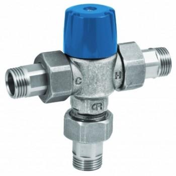 """Miscelatore rubinetto termostatico TEE ø1/2"""" mm per impianti sanitari 21330400 - Regolazione a punto fisso"""