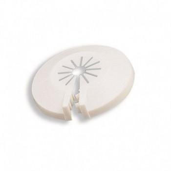 Rosone in materiale plastico bianco Ø est. mm. 58, Ø max int. mm. 18 434700PB - Attacchi sottolavabo/rosoni