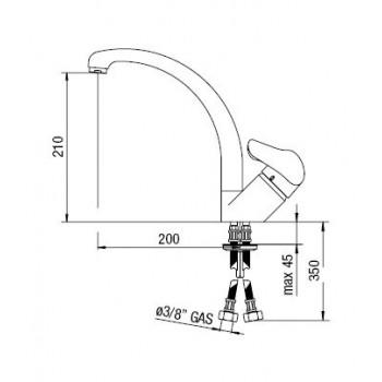 SKIPPER miscelatore monocomando lavello H.210mm CR SK11113CR