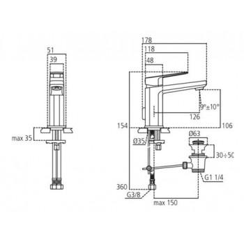 TONIC II miscelatore monocomando lavabo H.10,6 C/asta CR IDSA6326AA